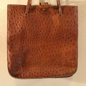 Artigiano Cuoio Italy Brwn Leather Ostrich Pattern